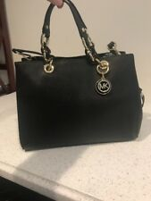 Michael Kors Black Saffiano Leather Bag Cynthia Gold Chain Convertible Crossbody