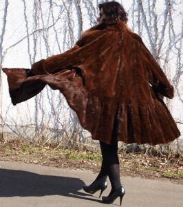 Mink Coat Mink fur Coat Blue Fox Shorn Swinger Loin Italy Style Braun