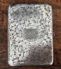 Antique Victorian Sterling Silver Card Case Coins Hallmarked Birmingham