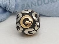 """Authentic Pandora Silver 14k Gold Alphabet Initial Letter  """"G"""" 790298G Retired"""