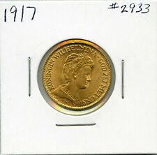 1917 Gold Netherlands 10 Gulden Coin. Almost Uncirculated. Lot #2727
