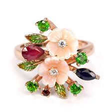 925 Sterling Silber Ring, Rubin, Saphir, Perlmutter Blumen, Emailliert Blätter
