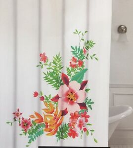 Cynthia Rowley Tropical Panel Fabric Shower Curtain Purple Hibiscus Pink