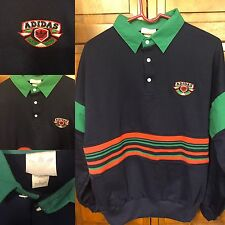 Adidas Rugby Jersey Long Sleeve Navy Blue Green Three Stripes Men L Vintage Rare