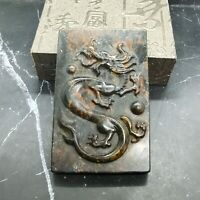 Ancient Chinese Culture Meteorite Pendant Carving Dragon Play Pearl