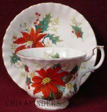"ROYAL ALBERT china POINSETTIA pattern Cup & Saucer Set - 2-3/4"""