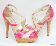 New Guess JACLYN Strappy Platform Pump Sandal Patent Heel  Pink/Ivory 8.5