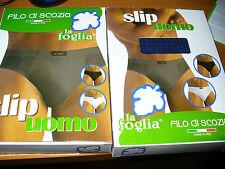 3 slip uomo LA FOGLIA 100% puro cotone filo di scozia colorati taglia 5/L