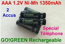 2 Piles AAA Rechargeables 1350mAh 1.2V NIMH GO! R3 R03 LR3 LR03 Batterie Accu FR