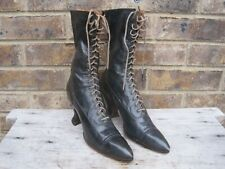 Antique Boots Victorian Edwardian Women's / Girls Black Leather High Top Lace Up