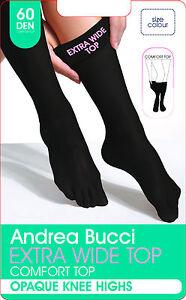 Andrea Bucci Extra Wide Comfort Top Opaque Knee High Socks 60 Denier