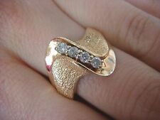 14K YELLOW GOLD LADIES DIAMOND RING WITH SUNBLAST AND HIGH POLISH FINISH