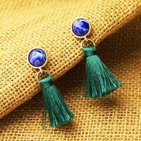 Handmade Green Crystal Ear Drop Dangle Stud Ancient Gold long Tassels Earrings