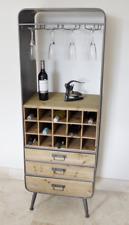 Industrial Style Metal & Wood Bar Unit Drinks Wine Cabinet 159 x 56 x 38 cm