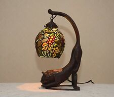 "18.5""H Grape Vine Stained Glass Tiffany Style Table Desk Lamp Night Light !"