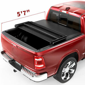 OEDRO Tri-Fold Tonneau Cover Truck Bed Cover 5.8ft for 2009-2021 Dodge Ram 1500