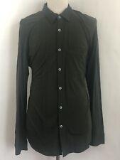 Men's IBEX XL Green Merino wool Long Sleeve Button Front Shirt Made In USA