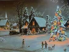 Vintage Christmas Lights Winter House children sled snowman