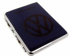 Cigarette Case - Volkswagen Blue Leather Chrome King Size - NEW Licensed
