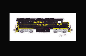 """Gateway Western GP38 #2001 11""""x17"""" Matted Print Andy Fletcher signed"""