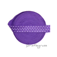 "5 Yard 5/8"" Polka Dot Print Purple Foldover Elastic FOE Spandex Band Sewing Trim"