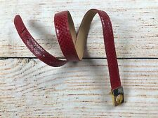 Womens Red snakeskin leather belt gold Christopher Roberts vintage  33""