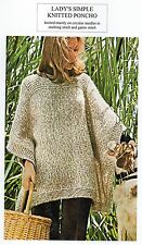 VINTAGE KNITTING PATTERN - LADY'S SIMPLE KNITTED PONCHO - ARAN - LAMINATED