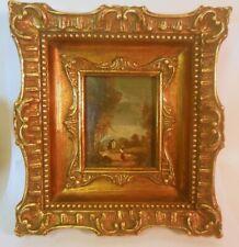 Vtg Italian OIL PAINTING ART Signed Ornate Rococo Baroque Frame Landscape