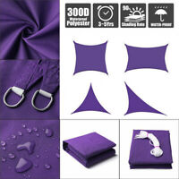 Sun Shade Sail Outdoor Patio Top Canopy Cover 98% Anti-UV Waterproof Purple US