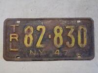 1947 New York Trailer License Plate 82-830 TRL Yellow on Black ~FastFreeShip~