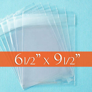 """200 Clear Cello Bags, 6.5 x 9.5 inch OPP Poly, Resealable Flap; 6 1/2"""" x 9 1/2"""""""