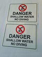 No Diving Danger Vinyl Sticker Warning  ( set of 2)   6inx4in