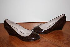 NEW Womens Franco Sarto Brown Cheetah Patent Leather Open-Toe Wedges Size 11