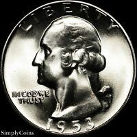 1953-S Washington Quarter ~ GEM BU Uncirculated ~ LUSTER! 90% Silver US Coin MQ
