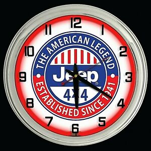 """16"""" Jeep 4x4 The American Legend Sign Red Neon Wall Clock Chrome Garage Decor"""