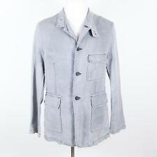 Armani Jeans 100% Linen Light Gray Blazer/Jacket w/ Working Cuffs Large