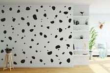 100 Black Dalmatian Dog Spots Polka Dots Stone Shapes Wall Art Stickers Decals