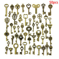 50PCS DIY Mixed Vintage Key Charms Pendant Steampunk Bronze Jewelry Findings  TO