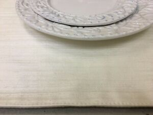 18 BY 20 INCH PEARL LINEN OFF WHITE HOME PARTY TABLE PLACE MATS EVENT SUPPLIES