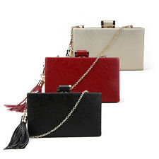 Wedding Prom Party Wine Gold Black Faux Leather Tassel Box Clutch Evening Bag