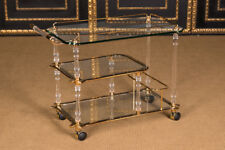High Quality Acrylic Serving Tray Table with Brass L.90 cm x H.67 cm