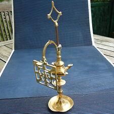 Lampe à Huile Miniature Bronze Doré Laiton Massif Ancienne 22 x 5,5 Cm -180 Grs