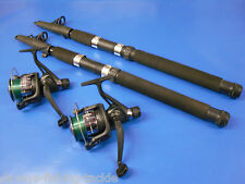 2 8FT TELESCOPIC RODS+RD40 REELS+LINE COARSE SEA FISHING SPINNING TRAVEL HOLIDAY