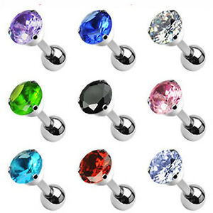 """1 - 16 Gauge 1/4"""" 5mm Round CZ Prong Tragus Piercing Earring Stud 10 Colors A78"""