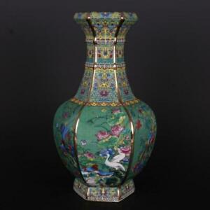 Chinese Colour Enamels Porcelain Gild Lotus & Bird Six Sides Design Vase 10 inch