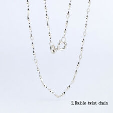 "Fashion Genuine Solid 925 Sterling Silver Curb Trace Chain Necklace 16"" 18"" inch"