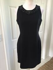 NWT Banana Republic L'wren Scott Collection Black Beaded  Fitted Shift Dress 12P