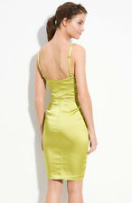 NEW VERA WANG Lavender Stretch Satin Cocktail DRESS SIZE 6 $295 LIME GREEN