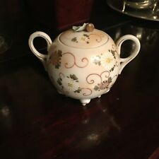 "Antique Small Catch Pot Jar 4"" Scroll Floral Pattern"