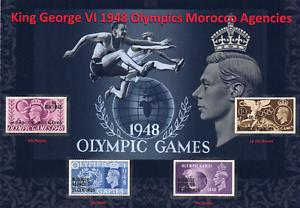 KGVI NICE DISPLAY OF MOROCCO AGENCIES 1948 OLYMPICS SPANISH SET MINT